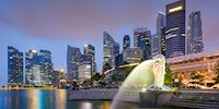 Skyline of Singapore with the Merlion Fountain in the foreground