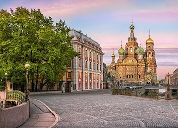 Cobblestone street and cathedral in St. Petersburg