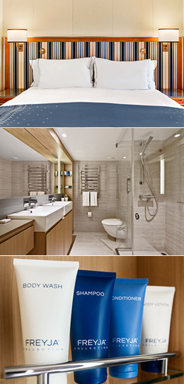 Mosaic of a stateroom bed, a bathroom and a display of various toiletries