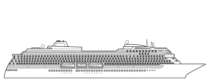 Side view for Viking Ocean Ship